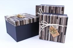 Набор подарочных коробок из 3шт- КУБ паркет черный  Р146