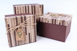 Набор подарочных коробок из 3шт- КУБ паркет коричневый Р146