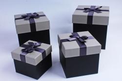 Набор подарочных коробок из 3шт- Куб Серая крышка/чёрный