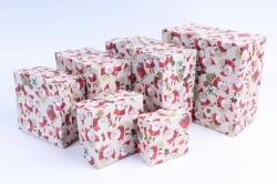 Набор подарочных коробок из 6шт -  Квадрат №1 НГ Дед-Морозы   Пин01/6НГ-5