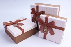 Набор подарочных коробок из 3шт- Квадрат бант лён шоколад