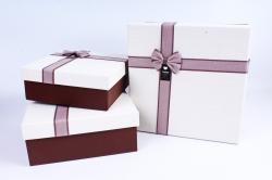 Набор подарочных коробок из 3шт- Квадрат бежевая крышка/коричневый Р118