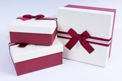Набор подарочных коробок из 3шт- Квадрат белая крышка