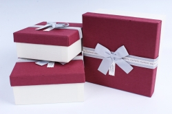 Набор подарочных коробок из 3шт- Квадрат бордовая крышка