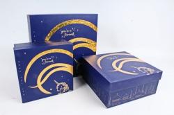 Набор подарочных коробок из 3шт -  Квадрат Единорог синий К406