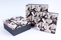 Набор подарочных коробок из 3шт- Квадрат Фламинго Р107