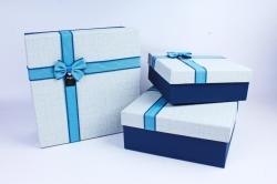 Набор подарочных коробок из 3шт- Квадрат голубая крышка/синий  Р118