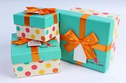 Набор подарочных коробок из 3шт- Квадрат Горох