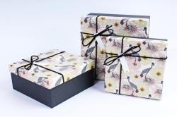 Набор подарочных коробок из 3шт- Квадрат Королевская цапля  Р107