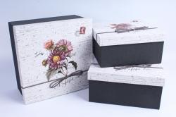 Набор подарочных коробок из 3шт- Квадрат Крафт Астра