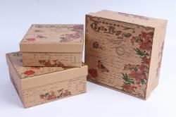 Набор подарочных коробок из 3шт- Квадрат Крафт Лилии