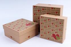 Набор подарочных коробок из 3шт- Квадрат Крафт LOVE