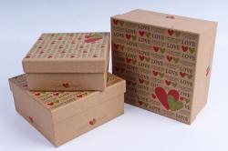 Набор подарочных коробок из 3шт- Квадрат Крафт LUCK