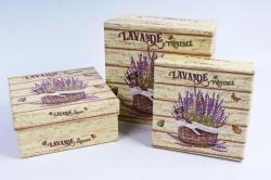 Набор подарочных коробок из 3шт- Квадрат Лаванда на дереве