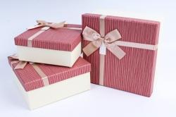 Набор подарочных коробок из 3шт- Квадрат Лён бордо