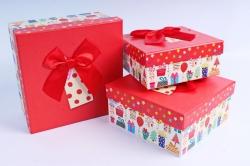 Набор подарочных коробок из 3шт- Квадрат Подарки красная крышка