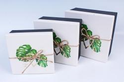 Набор подарочных коробок из 3шт- Квадрат с Монстерой Р148
