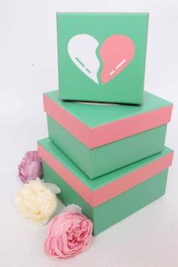 """Набор подарочных коробок из 3шт -    КВАДРАТ """"Сердца на бирюзе"""" 12*12*7см SY2269-428"""