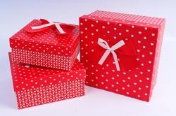 Набор подарочных коробок из 3шт- Квадрат сердца+горох красный