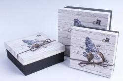 Набор подарочных коробок из 3шт- Квадрат Сирень