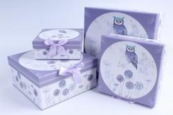 Набор подарочных коробок из 4шт -  Квадрат Сова  H5147N-D291