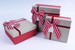 Набор подарочных коробок из 3шт- Квадрат в крапинку бежевый