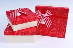 Набор подарочных коробок из 3шт- Квадрат в крапинку красный
