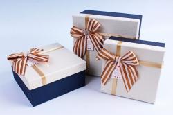 Набор подарочных коробок из 3шт- Квадрат в крапинку шампань