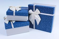 Набор подарочных коробок из 3шт- Квадрат в крапинку синий