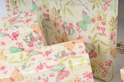 Набор подарочных коробок из 10шт -  Прямоугольник Бабочки на салатовом   794