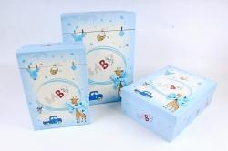 Набор подарочных коробок из 3шт- Прямоугольник Baby голубой  D060
