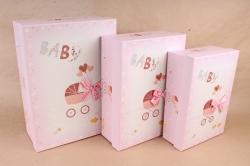 Набор подарочных коробок из 3шт- Прямоугольник Baby розовый    D060