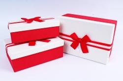 Набор подарочных коробок из 3шт- Прямоугольник белая крышка