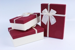 Набор подарочных коробок из 3шт- Прямоугольник бордовая крышка