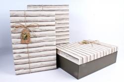 Набор подарочных коробок из 3шт- Прямоугольник бревнышки Р145