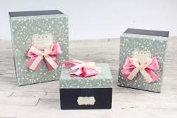 Набор подарочных коробок из 3шт- Прямоугольник Цветочки мелкие на сером   Н52