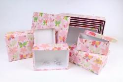 Набор подарочных коробок из 10шт -  Прямоугольник Цветочные бабочки розовый   К790