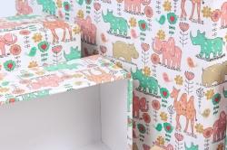 Набор подарочных коробок из 10шт -  Прямоугольник Джунгли   К793