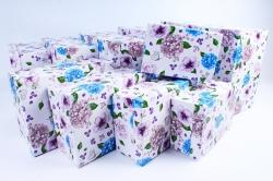 Набор подарочных коробок из 10шт- Прямоугольник Гортензия и розы   К210