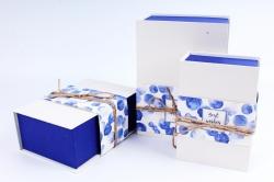Набор подарочных коробок из 3шт- Прямоугольник Книга круги синий Р109