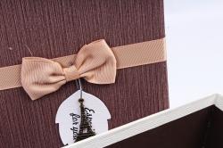Набор подарочных коробок из 3шт- Прямоугольник коричневая крышка/шампань