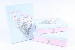 """Набор подарочных коробок из 3шт- Прямоугольник """"Космея и Лаватера"""" голубая крышка"""