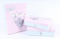"""Набор подарочных коробок из 3шт- Прямоугольник """"Космея и Лаватера"""" розовая крышка"""
