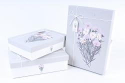 """Набор подарочных коробок из 3шт- Прямоугольник """"Космея и Лаватера"""" серая крышка"""