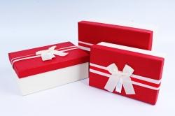 Набор подарочных коробок из 3шт- Прямоугольник красная крышка