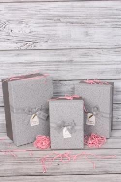 Набор подарочных коробок из 3шт -  Прямоугольник Кружева стальной 25*17*12см В507