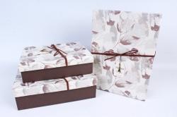 Набор подарочных коробок из 3шт- Прямоугольник крышка листья коричневый Р153