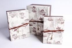 Набор подарочных коробок из 3шт- Прямоугольник крышка Листья коричневый Р151