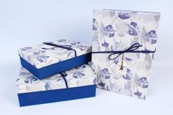 Набор подарочных коробок из 3шт- Прямоугольник крышка листья синий Р153