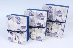 Набор подарочных коробок из 3шт- Прямоугольник крышка Листья синий Р151